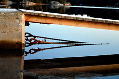 Ropes. (Papa Razzi1) Tags: 8344 2016 341365 ropes reflections water sea cold ice snow chilly december winter twilight afternoon grisslinge havsbad bridge