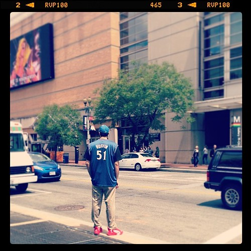 Just a bro, in his Michael Ruffin #Wizards jersey, spotted outside the Verizon Center, contemplating life, or good trucks, or Lady Gaga on May 15, or the Playoffs.