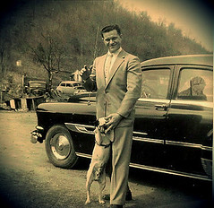 Pontiac Man (Photos By Vic) Tags: old family bw vintage picture photograph pontiac 52 1952