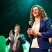 Sophie in 't Veld bij de D66 uitslagenavond Europese verkiezingen 2014 in Nijmegen