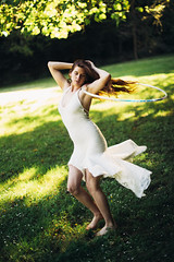 Hoop Angel (NatVon Photography) Tags: portrait girl angel hoop humboldt dancing longhair fairy mystical arcata hooping whimsical onesie headdress whitedress redwoodpark festivalfashion dncing hoopdance harmonicthreads