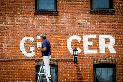 Painting A Sign (Marc_714) Tags: nc paint bricks northcarolina ladder wilmington grocer marc714