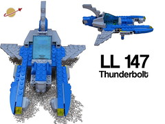 LL 147 Thunderbolt 'Galileo' (Harding Co.) Tags: blue black classic yellow grey lights flying wings lego space welding hangar cockpit scifi vehicle spaceship walls fin viper base fuel escort vv minifigure classicspace