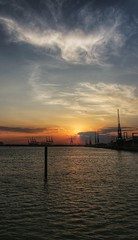 Southampton Sunset (rjhyslop) Tags: city travel sunset shadow summer sky urban ferry skyline modern pier harbour southampton soe hdr canont5i