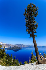 Crater Lake - 152 (www.bazpics.com) Tags: park trip morning blue summer sun mist lake color colour water beautiful june oregon landscape island volcano amazing haze scenery mt unitedstates nps wizard or centre scenic sunny visit clear mount national crater caldera service craterlake rim visitor mazama 2014 supervolcano barryoneilphotography