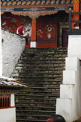 stone staircase to an upper level (cam17) Tags: bhutan stonestairs stonestaircase parodzong parobhutan rimpungdzong upperarcade bhutanesecommoner bhutandzongs bhutancastles bhutanforts seatedcommoner