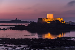 Fort Grey (Robgreen13) Tags: ocean longexposure sunset shadow seascape reflection building castle canon island eos grey bay rocks cloudy fort dusk calm coastal gb guernsey channelislands headland 650d 10stopper iplymouth yahoo:your