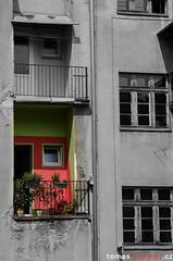 Balcony (tomyjezura) Tags: street old city red urban blackandwhite bw house color building home wall architecture facade town nikon balcony masonry front plaster kola dovolen chibsk eskkamenice nikond7000 tomasfotografcz