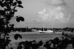 08 12 2014 Day 224 (John Ilko) Tags: seascape canon vintage river boat blackwhite ship floating manatee fl float palmetto afloat g11 anchored manateeriver