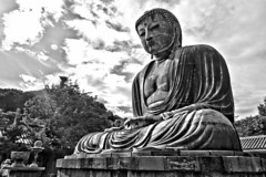 Kamakura Buddha (2) (Lutz Schubert) Tags: sky bw statue japan bronze landscape buddha