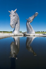 Kelpies reflected (Gordon Saunders) Tags: blue sky sculpture horse reflection water metal scotland head falkirk kelpie