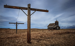 Arena (Rodney Harvey) Tags: abandoned church rural town decay ghost north lonely clothesline desolate dakota