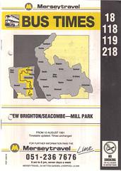 Merseytravel (Wirral) Timetable Route #18, 118, 119, 218 (From 10th August 1991) (Luke O'Rourke) Tags: bus birkenhead mersey timetable wirral westkirby newbrighton portsunlight bidston merseytravel merseybus lairdstreet