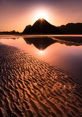 The Mountain (m_warakorn) Tags: sunset sea sky sun mountain seascape beach water sunshine landscape flare reflextion