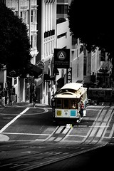 Tramway, San Francisco, United States of America (crc.bernard) Tags: california usa white black color bernard america san francisco noir minolta united transport states tramway blanc couleur 2012 crc californie 2014 amérique etatsunis commun crcbernard