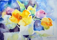Jar of flowers, by Valria - DSC07603 (Dona Mincia) Tags: stilllife art beauty watercolor painting paper arte study beleza pintura aquarela naturezamorta jarofflowers jarrodeflores