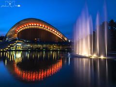 HKW_020 (pXelbre! by LTX) Tags: reflection berlin water fountain architecture wasser architektur bluehour spiegelung tiergarten hausderkulturenderwelt blauestunde kongresshalle fontne lightinstallation lichtinstallation