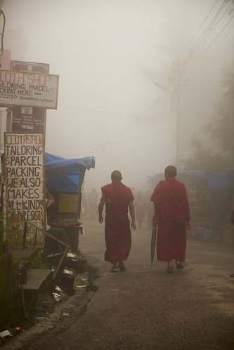 Monks in the mist
