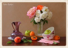 Morning Offerings (Esther Spektor - Thanks for 10+ millions views..) Tags: morning pink flowers roses stilllife orange brown white color reflection green art texture apple cup water glass leaves metal fruit composition canon golden stand stem beige ceramics pattern crystal availablelight burgundy maroon napkin plate stilleben vase apricot bouquet brass pitcher tabletop bodegon naturemorte offerings artisticphotography naturamorta naturezamorta creativephotography coth5 estherspektor