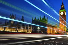 Houses of Parliament, London, United Kingdom (fotograf_zayer) Tags: road bridge blue light sky building bus london tower cars clock westminster by skyline night tail trails housesofparliament parliament bigben buslane
