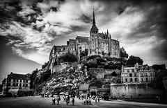 Mont Saint Michel (Rayoflightbe) Tags: normandi travel normandy mont saint michel clouds black white architecture