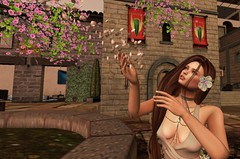Gaia and Flowers 1_019 (margauxlevenque) Tags: sl secondlife hochburg gor gorean roleplay