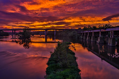 James River Sunset, Richmond, Virginia (Bill Varney) Tags: sunset clouds water james river bridge train trestle outdoor reflection richmond virginia billvarney