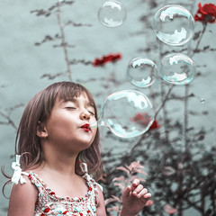 Filling (isabs) Tags: conceptual portrait kid child children bubble manipulation dream color happy girl rose flower