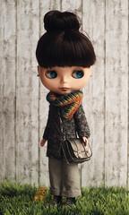 Tweedly Do ready for an autumn walk (*KaChu*) Tags: blythe doll tweedlydo autumn fall grass cold dog scarf bag cardigan