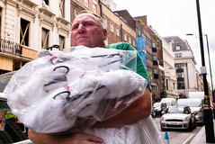 Dry Cleaning (Michael Goldrei (microsketch)) Tags: photo dry wash street mayfair cleanclothes 2016 35mm september clean cleaning photos man washing leica london st 240 photography delivery 16 typ type240 typ240 photographer sept