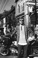 Thor (Georgie_grrl) Tags: distinguishedgentlemansride motorcycles bikers riders fundraiser charityride dapper dressedtoimpress friends blackandwhite monochrome andalotofchrome jchstreetpan400 queenstreetwest morningmeetup elalmacen toronto ontario thor plaid pentaxk1000 rikenon12828mm
