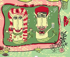 Home of the Hipster Mer-Couple sf copy2 (sassyone2013) Tags: spoonflower indie fabric design home mermaid fish octopus squid jellyfish people merpeople fantasy sewing quilting wallpaper wrapping gift wrap crafting craft crafts merman shells sharks sea ocean water marine nautical anchor beach