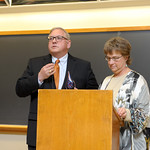 Dr. John Shustitzky receives a Distinguished Alumni Award from Professor & Head, Wendy Heller