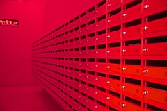 Dutch student mailboxes (Richard Karlsen) Tags: mailbox orange boxes postbokser student hotel color