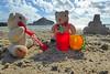 5Fri DT&Dee Sand Castle2 (g crawford) Tags: penzance cornwall marazion stmichaelsmount crawford sandbeach sandcastle dangerted ted teddy teddies dt dee bucket spade