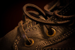 Leather and stitches [Explored] (pauldgooch) Tags: eos macro 600d stitch 2016 macromondays boot eye canon footwear stitching lace