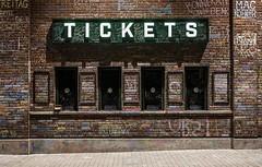 Wrigleyville Chalk (Grant Carlson) Tags: chicago chicagolandmark chicagocubs wrigley wrigleyville wrigleyfield brick chalk graffiti tickets ticketwindow night nighttime nighttimephotography canon canon60d