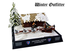 Winter Outfitter (Disco86) Tags: lego moc colossal castle contest xxiv medieval snow tree fir fur sledge husky dog ice