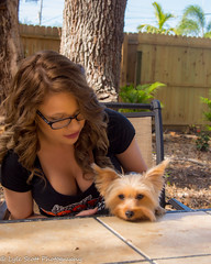 Kalli and Zoey (189) (BuccaneerBoy) Tags: yorkie yorkshireterrier puppy dog woman girl female hooters hooterscalendargirl florida clearwater largo seminole stpetersburg model beautiful lovely fun family fall autumn november