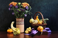 Thanksgiving Wishes (Esther Spektor - Thanks for 12+millions views..) Tags: stilllife naturemorte bodegon naturezamorta stilleben naturamorta composition creativephotography art arrangement artisticphoto thanksgiving tabletop bouquet flowers mum chrysanthemum gourd pumpkin basket vase napkin box drape stem pottery wicker shape pattern availablelight wooden green yellow orange purple violet reflection brown estherspektor canon autumn holiday