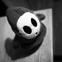 339/366 2016 - Shy Guy (fishyfish_arcade) Tags: 20mmf17 gx7 lumix panasonic panasonic20mmf17asphlumixg plush shyguy supermario toy 366 365 blackwhite blackandwhite bw monochrome mono