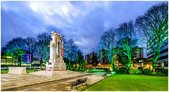 Green light for Rochdale (thenikonkid) Tags: rochdale christmaslights cenotaph gardensofremembrance dusk bluehour lowlightphotography