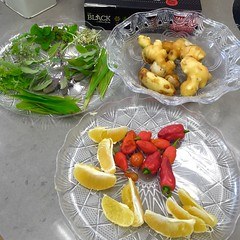 Daily Harvest (Assaf Shtilman) Tags: daily harvest ginger peppers chili chilli red orange slices herbs mint sage