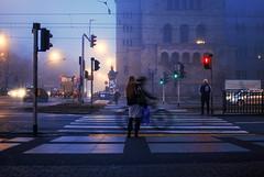 frenetic (ewitsoe) Tags: zamek castle crossing woman bnike rider speed traffic fog foggy morning lights ewitsoe poznan poland street urban city nikon d80