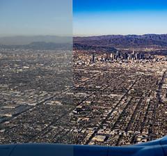 De-Hazing LA ((Jessica)) Tags: dehaze downtown losangeles lightroom la airplane view clear downtownla hazy windowseat haze smog