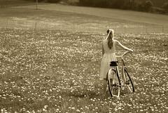 Cyclist (Dominique-Thomas) Tags: portrait people nature girl bike sepia vintage garden hair photography nikon day cyclist czech retro dandelion czechrepublic tamron nikondigital d3000 nikond3000 kozmice