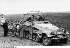 German General Heinz Guderian (in SdKfz. 251/3 halftrack vehicle) speaking with General Adolf Kuntzen of 8th Panzer Division, France, May 1940 Photographer Erich Borchert Source German Federal Archive