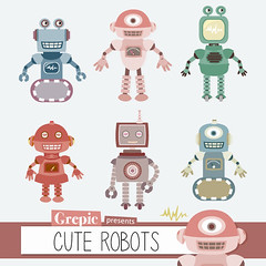 "Robots clipart pack: ""CUTE ROBOTS"" digital clip art, cute robot graphics for scrapbooking, cards, parties, invites (workyourart) Tags: cute art digital robot graphics mechanical clip robots clipart"