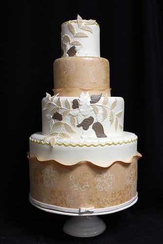 Gold Sponge and Embroidery Wedding Cake