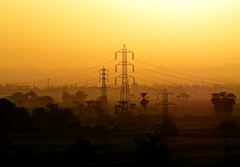 Luxor Sunrise (Rik Tiggelhoven Travel Photography) Tags: lines sunrise landscape photography dawn fuji power outdoor egypt line powerlines finepix paysage luxor landschaft rik landschap despera